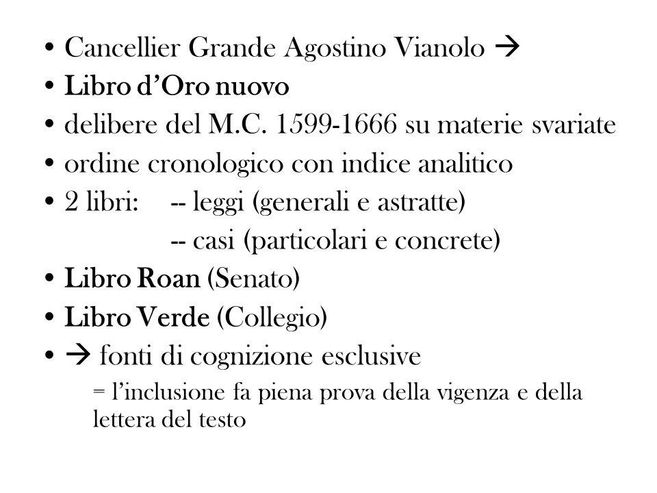 Cancellier Grande Agostino Vianolo Libro dOro nuovo delibere del M.C. 1599-1666 su materie svariate ordine cronologico con indice analitico 2 libri: -