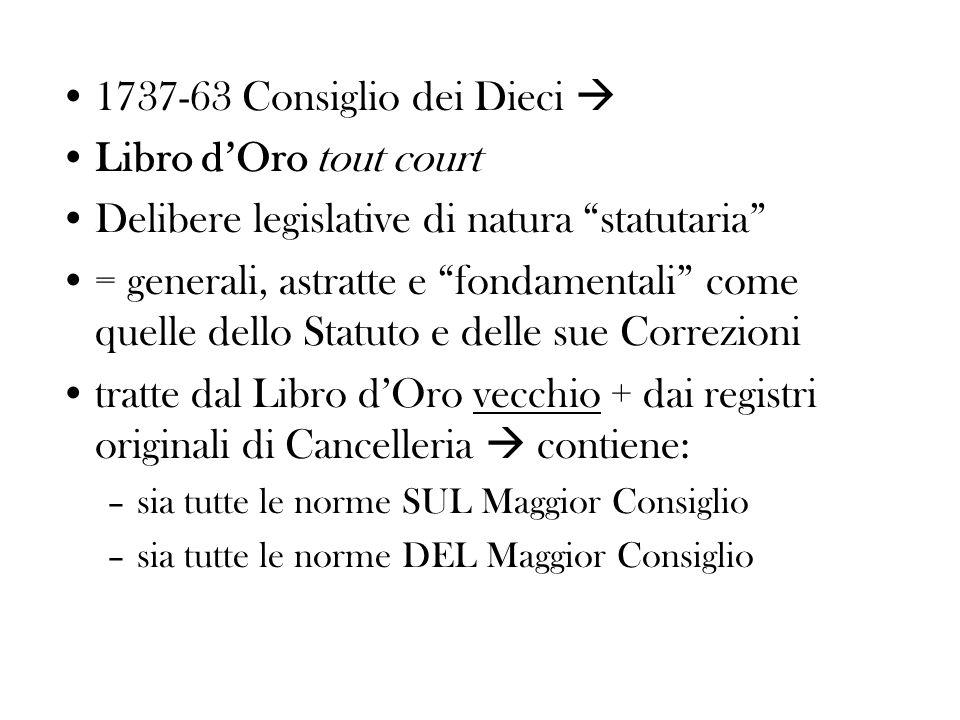 1737-63 Consiglio dei Dieci Libro dOro tout court Delibere legislative di natura statutaria = generali, astratte e fondamentali come quelle dello Stat