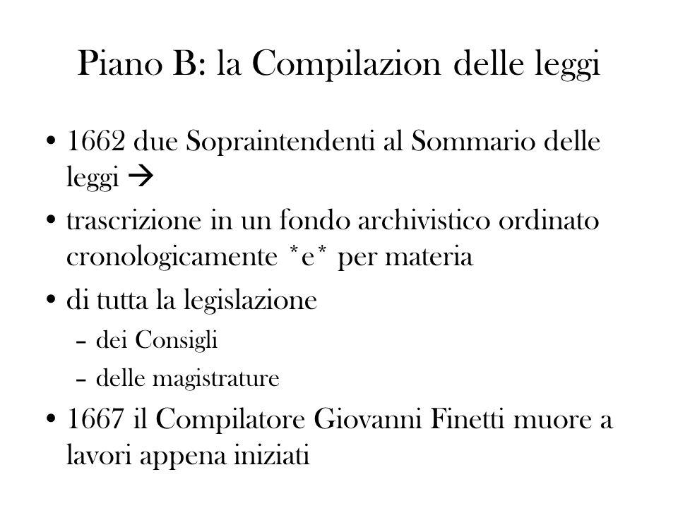 Piano B: la Compilazion delle leggi 1662 due Sopraintendenti al Sommario delle leggi trascrizione in un fondo archivistico ordinato cronologicamente *