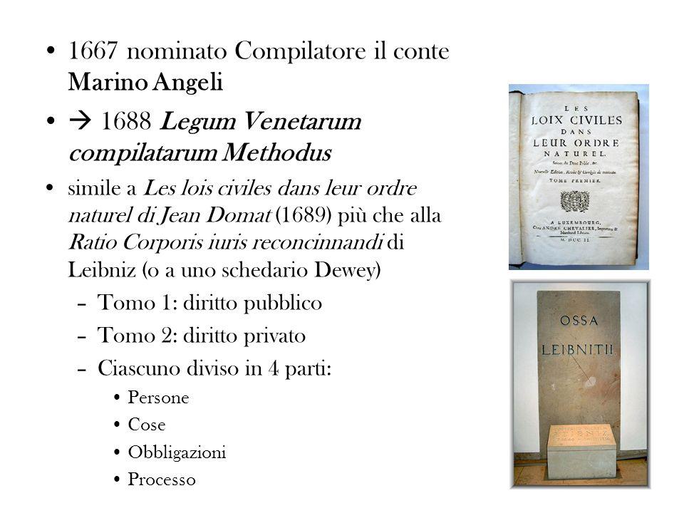 1667 nominato Compilatore il conte Marino Angeli 1688 Legum Venetarum compilatarum Methodus simile a Les lois civiles dans leur ordre naturel di Jean