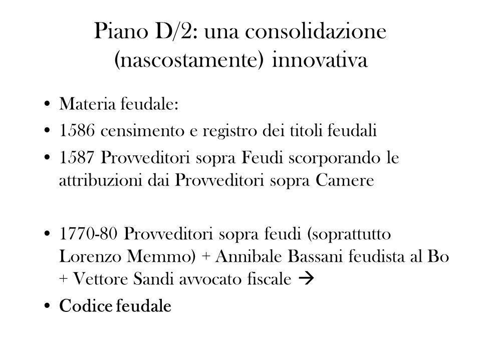 Piano D/2: una consolidazione (nascostamente) innovativa Materia feudale: 1586 censimento e registro dei titoli feudali 1587 Provveditori sopra Feudi