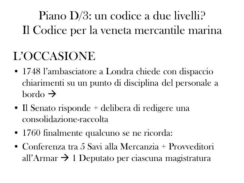I LAVORI / fase 1 Prima conferenza 1760-1774 materiale: –Legislazione vigente Consiliare Magistratuale –Legislazione estera (es.