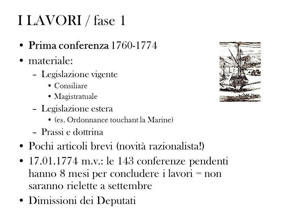 I LAVORI / fase 1 Prima conferenza 1760-1774 materiale: –Legislazione vigente Consiliare Magistratuale –Legislazione estera (es. Ordonnance touchant l