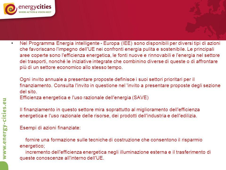 Nel Programma Energia intelligente - Europa (IEE) sono disponibili per diversi tipi di azioni che favoriscano l impegno dell UE nei confronti energia pulita e sostenibile.