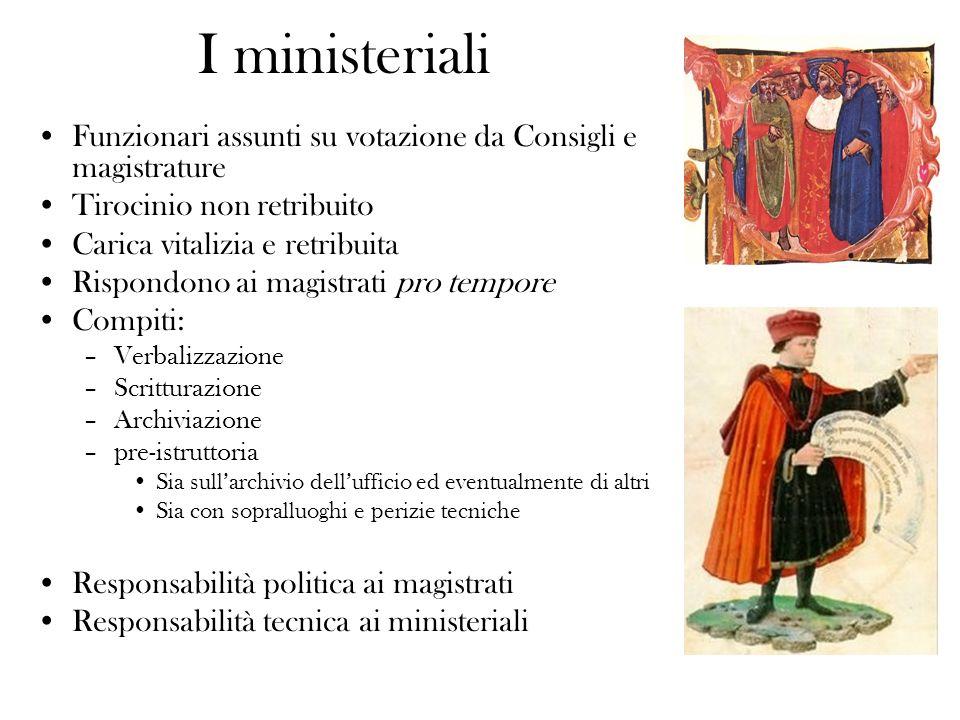 I ministeriali Funzionari assunti su votazione da Consigli e magistrature Tirocinio non retribuito Carica vitalizia e retribuita Rispondono ai magistr