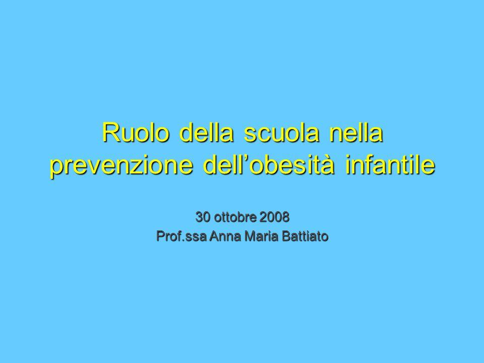 Ruolo della scuola nella prevenzione dellobesità infantile 30 ottobre 2008 Prof.ssa Anna Maria Battiato