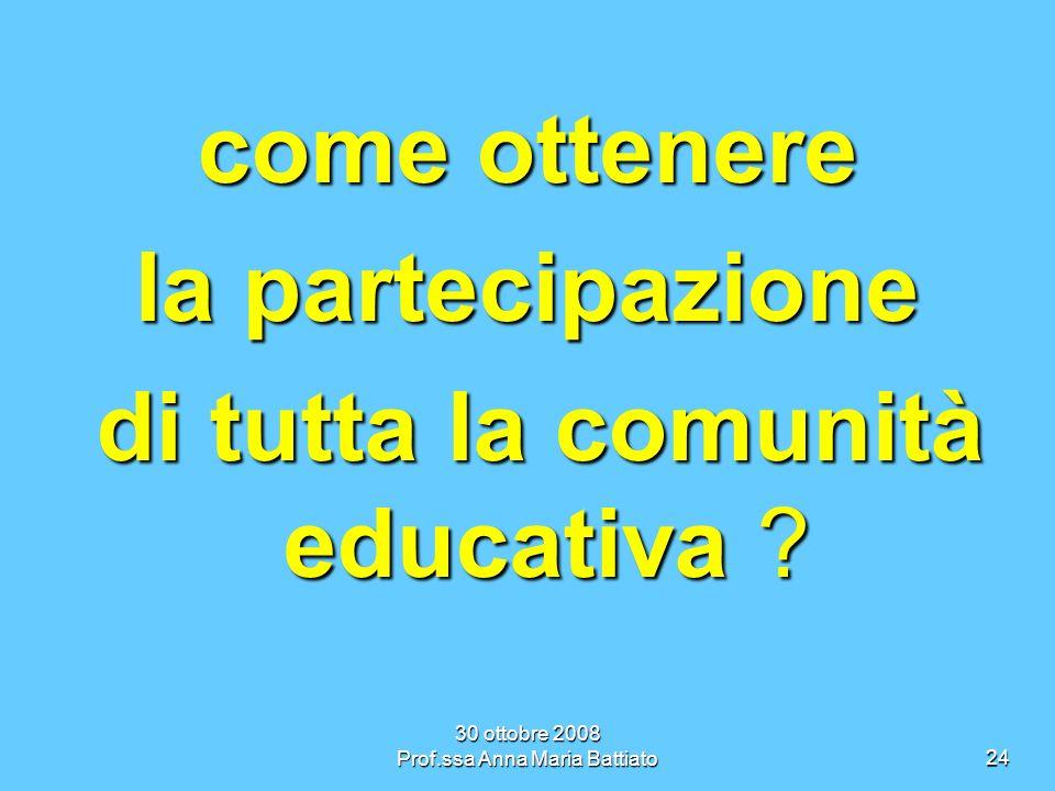 30 ottobre 2008 Prof.ssa Anna Maria Battiato24 come ottenere la partecipazione di tutta la comunità educativa .