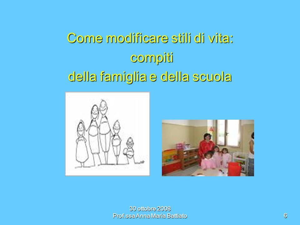 30 ottobre 2008 Prof.ssa Anna Maria Battiato7 La FAMIGLIA ha il compito di seguire il bambino passo passo nella sua crescita passo passo nella sua crescita