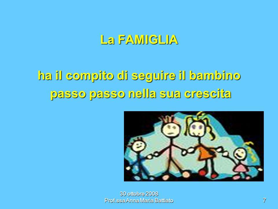 30 ottobre 2008 Prof.ssa Anna Maria Battiato8 La SCUOLA deve condividere con la famiglia deve condividere con la famiglia il ruolo educativo