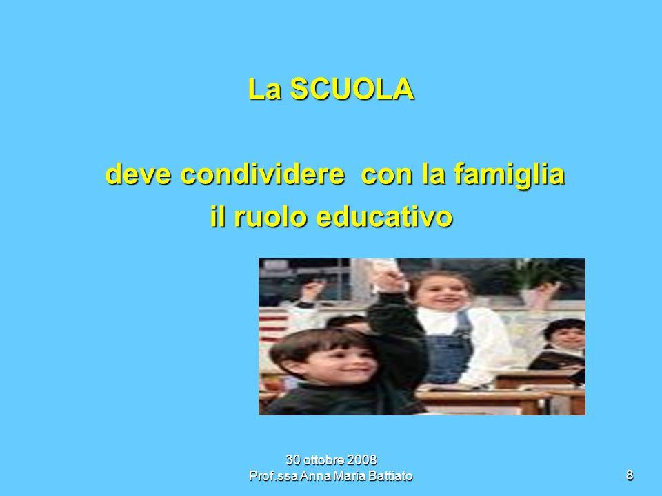 30 ottobre 2008 Prof.ssa Anna Maria Battiato9 Lazione educativa e formativa della scuola risulta essenziale