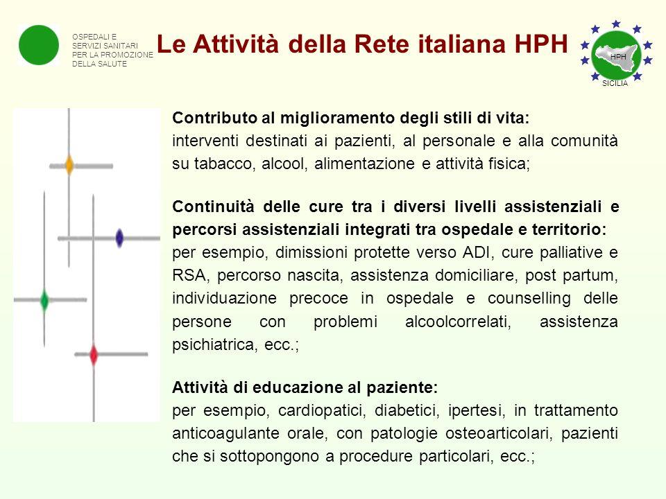 OSPEDALI E SERVIZI SANITARI PER LA PROMOZIONE DELLA SALUTE Le Attività della Rete italiana HPH Contributo al miglioramento degli stili di vita: interv