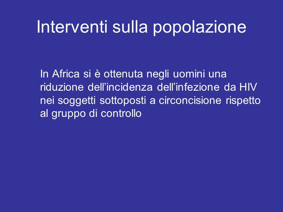 Interventi sulla popolazione In Africa si è ottenuta negli uomini una riduzione dellincidenza dellinfezione da HIV nei soggetti sottoposti a circoncis