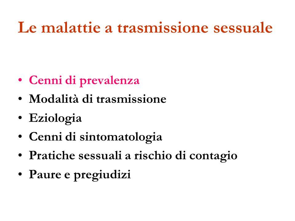 Le malattie a trasmissione sessuale Cenni di prevalenza Modalità di trasmissione Eziologia Cenni di sintomatologia Pratiche sessuali a rischio di cont