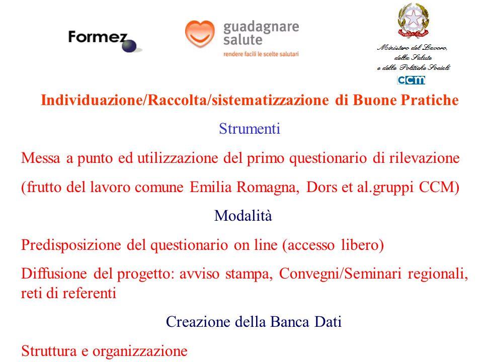 Individuazione/Raccolta/sistematizzazione di Buone Pratiche Strumenti Messa a punto ed utilizzazione del primo questionario di rilevazione (frutto del