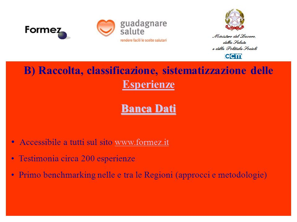B) Raccolta, classificazione, sistematizzazione delle Esperienze Esperienze Banca Dati Banca Dati Accessibile a tutti sul sito www.formez.itwww.formez