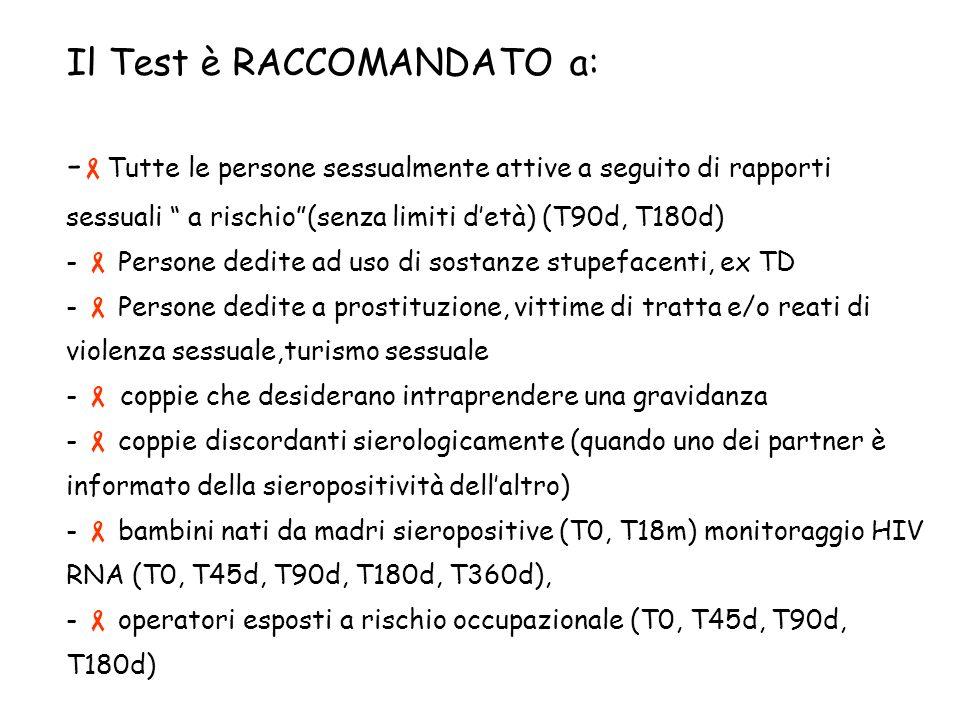 Il Test è RACCOMANDATO a: - Tutte le persone sessualmente attive a seguito di rapporti sessuali a rischio(senza limiti detà) (T90d, T180d) - Persone dedite ad uso di sostanze stupefacenti, ex TD - Persone dedite a prostituzione, vittime di tratta e/o reati di violenza sessuale,turismo sessuale - coppie che desiderano intraprendere una gravidanza - coppie discordanti sierologicamente (quando uno dei partner è informato della sieropositività dellaltro) - bambini nati da madri sieropositive (T0, T18m) monitoraggio HIV RNA (T0, T45d, T90d, T180d, T360d), - operatori esposti a rischio occupazionale (T0, T45d, T90d, T180d)