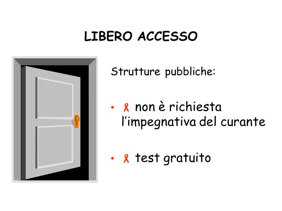 LIBERO ACCESSO Strutture pubbliche: non è richiesta limpegnativa del curante test gratuito