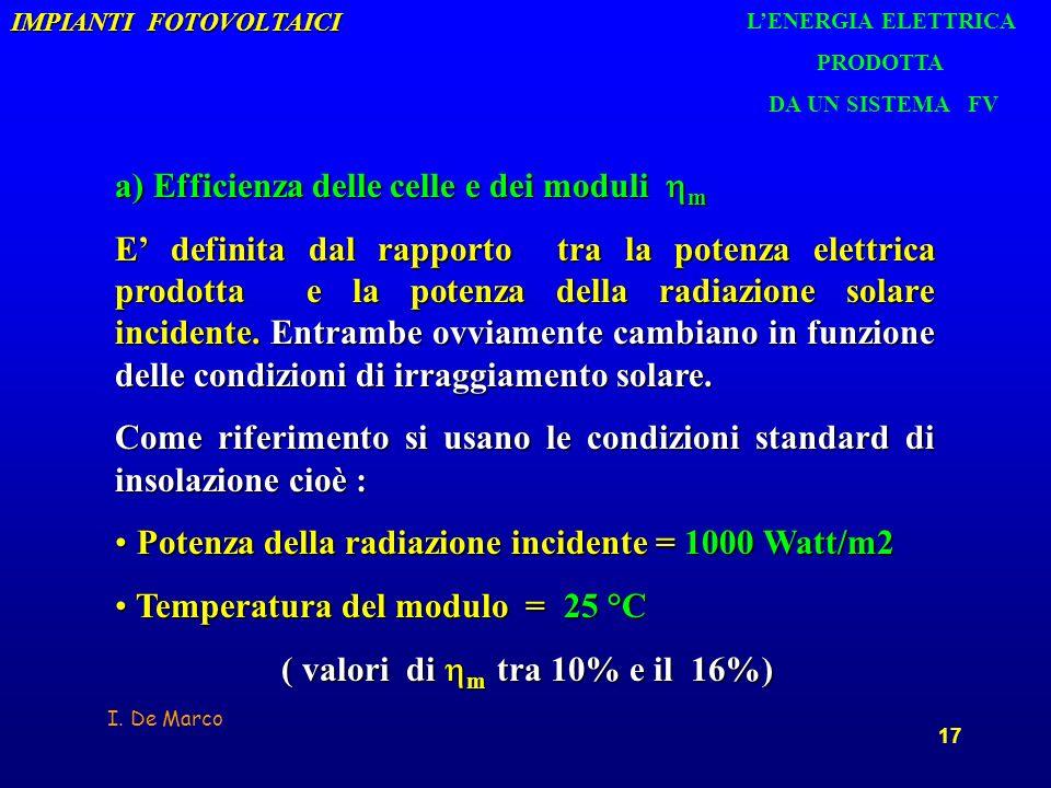 I. De Marco 17 IMPIANTI FOTOVOLTAICI a) Efficienza delle celle e dei moduli m E definita dal rapporto tra la potenza elettrica prodotta e la potenza d