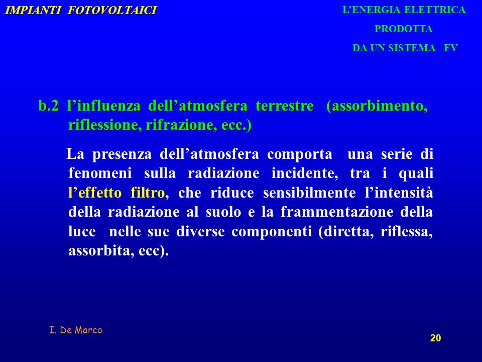 I. De Marco 20 IMPIANTI FOTOVOLTAICI b.2 linfluenza dellatmosfera terrestre (assorbimento, riflessione, rifrazione, ecc.) La presenza dellatmosfera co