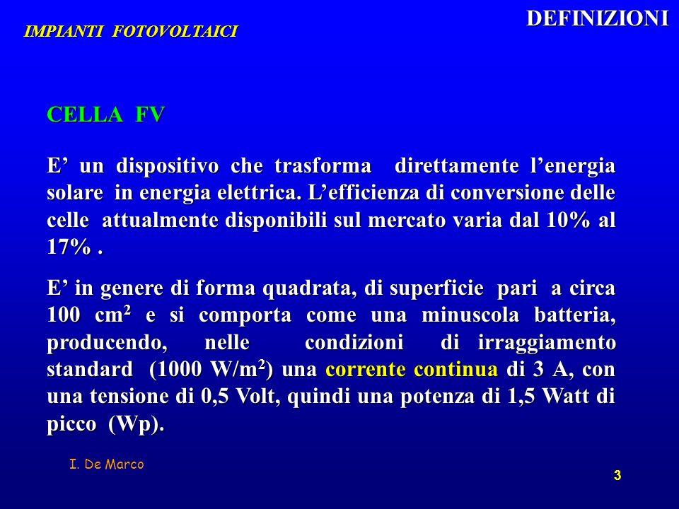 I. De Marco 3 E un dispositivo che trasforma direttamente lenergia solare in energia elettrica. Lefficienza di conversione delle celle attualmente dis