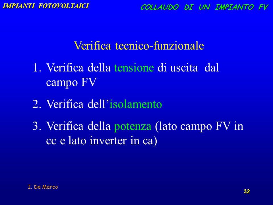I. De Marco 32 COLLAUDO DI UN IMPIANTO FV Verifica tecnico-funzionale 1. 1.Verifica della tensione di uscita dal campo FV 2. 2.Verifica dellisolamento