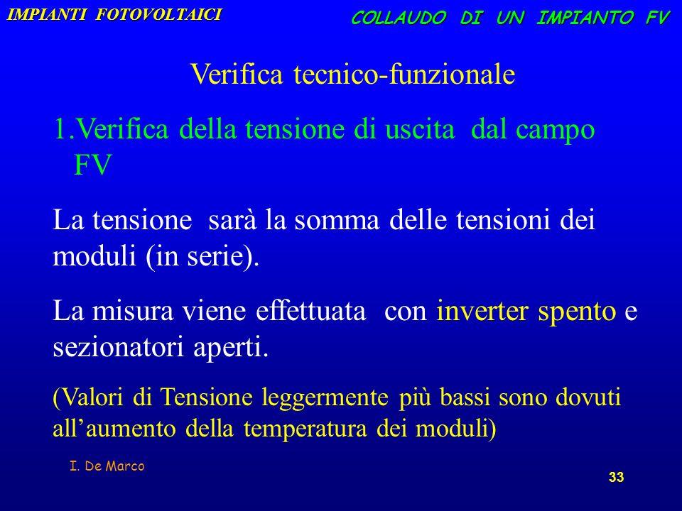 I. De Marco 33 COLLAUDO DI UN IMPIANTO FV Verifica tecnico-funzionale 1. 1.Verifica della tensione di uscita dal campo FV La tensione sarà la somma de