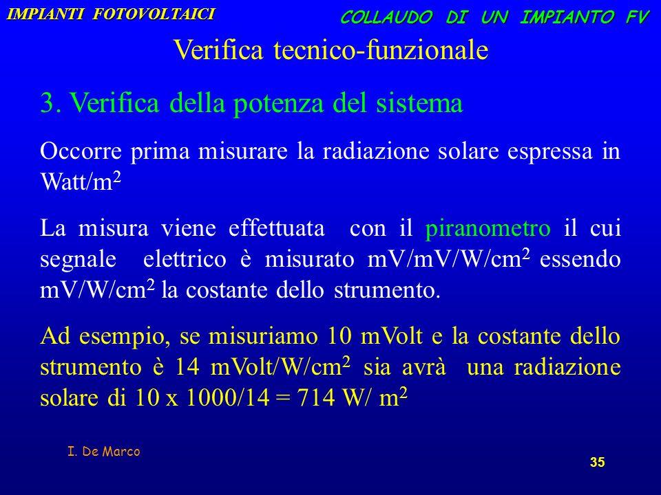 I. De Marco 35 COLLAUDO DI UN IMPIANTO FV Verifica tecnico-funzionale 3. Verifica della potenza del sistema Occorre prima misurare la radiazione solar