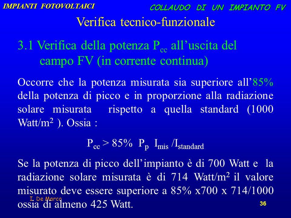 I. De Marco 36 COLLAUDO DI UN IMPIANTO FV Verifica tecnico-funzionale 3.1 Verifica della potenza P cc alluscita del campo FV (in corrente continua) Oc