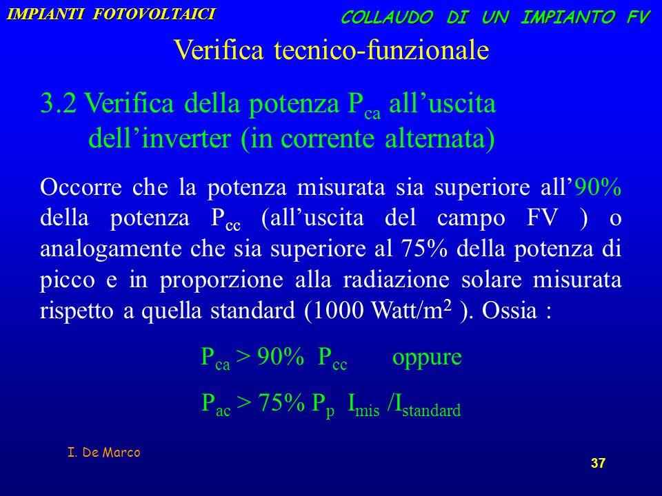 I. De Marco 37 COLLAUDO DI UN IMPIANTO FV Verifica tecnico-funzionale 3.2 Verifica della potenza P ca alluscita dellinverter (in corrente alternata) O