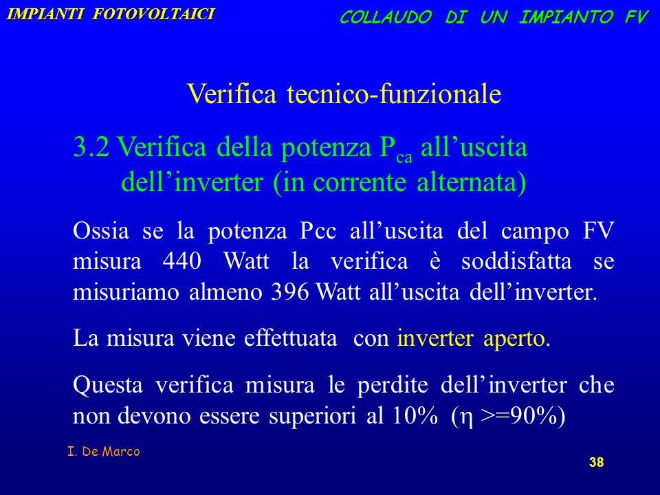 I. De Marco 38 COLLAUDO DI UN IMPIANTO FV Verifica tecnico-funzionale 3.2 Verifica della potenza P ca alluscita dellinverter (in corrente alternata) O