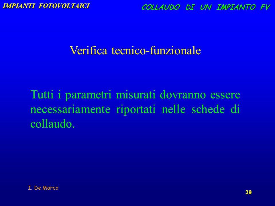 I. De Marco 39 COLLAUDO DI UN IMPIANTO FV Verifica tecnico-funzionale Tutti i parametri misurati dovranno essere necessariamente riportati nelle sched