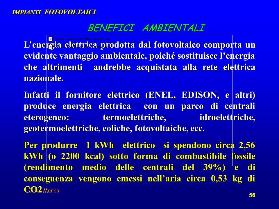 I. De Marco 56 BENEFICI AMBIENTALI Lenergia elettrica prodotta dal fotovoltaico comporta un evidente vantaggio ambientale, poiché sostituisce lenergia