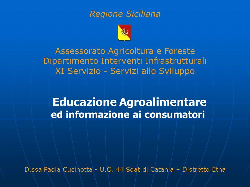 Educazione Agroalimentare ed informazione ai consumatori Regione Siciliana Assessorato Agricoltura e Foreste Dipartimento Interventi Infrastrutturali
