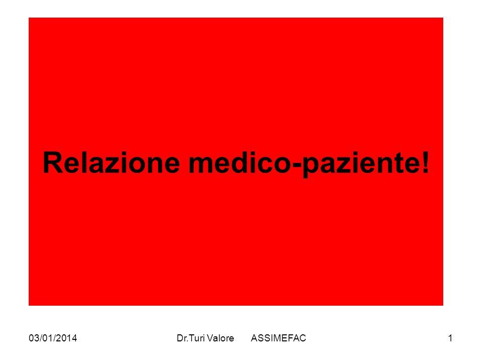 03/01/2014Dr.Turi Valore ASSIMEFAC1 Relazione medico-paziente!