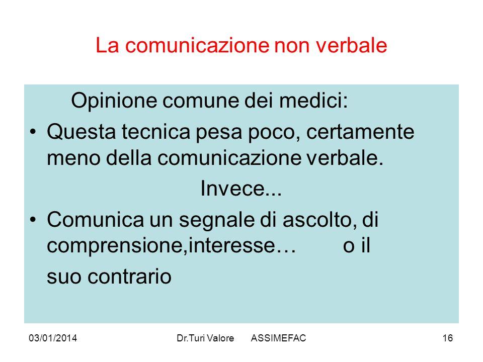 03/01/2014Dr.Turi Valore ASSIMEFAC16 La comunicazione non verbale Opinione comune dei medici: Questa tecnica pesa poco, certamente meno della comunicazione verbale.