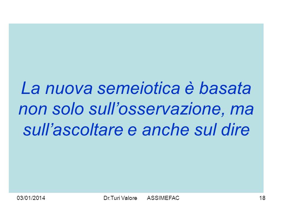 03/01/2014Dr.Turi Valore ASSIMEFAC18 La nuova semeiotica è basata non solo sullosservazione, ma sullascoltare e anche sul dire