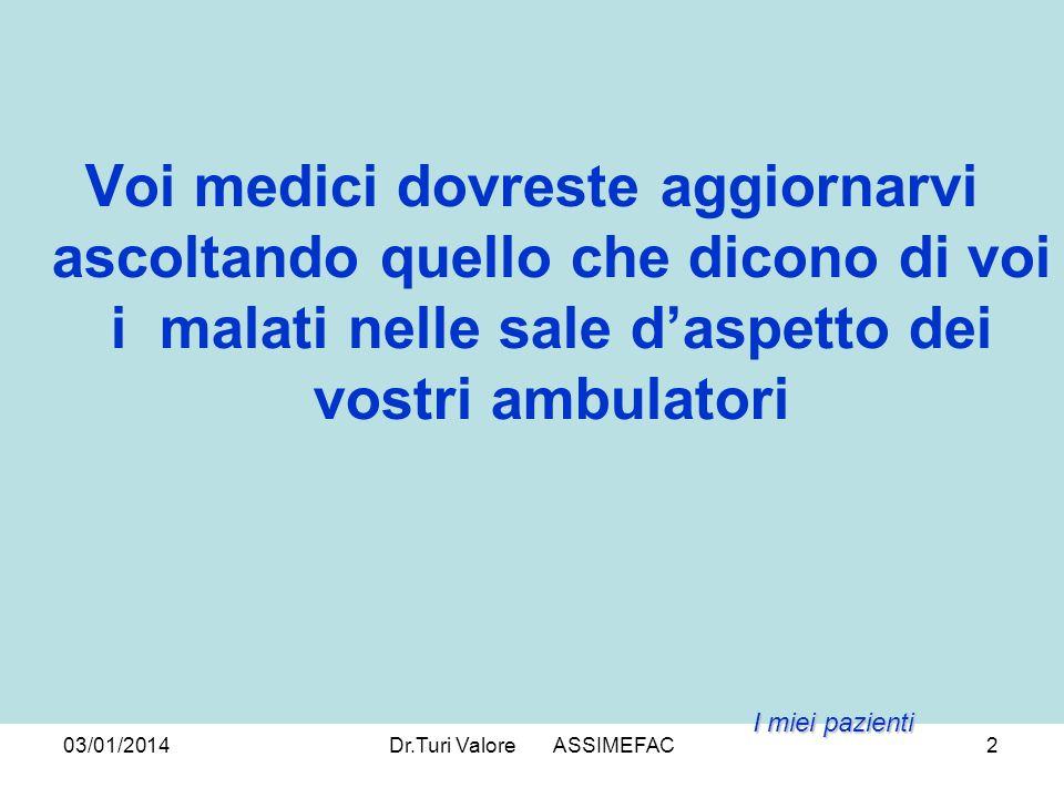 03/01/2014Dr.Turi Valore ASSIMEFAC13 RELAZIONE Recupero della Relazione Medico-malatoè l unico mezzo per raggiungere la Compliance