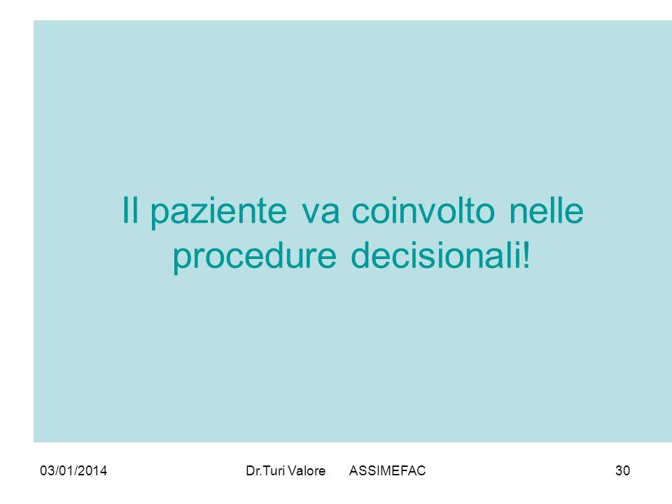 03/01/2014Dr.Turi Valore ASSIMEFAC30 Il paziente va coinvolto nelle procedure decisionali!