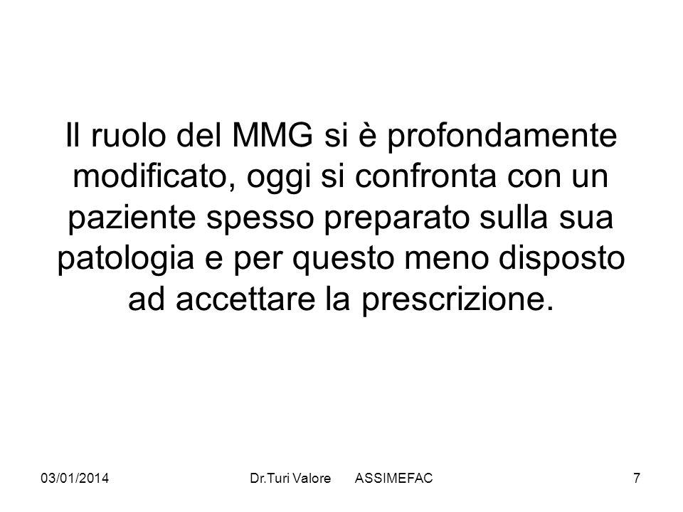 Il ruolo del MMG si è profondamente modificato, oggi si confronta con un paziente spesso preparato sulla sua patologia e per questo meno disposto ad accettare la prescrizione.