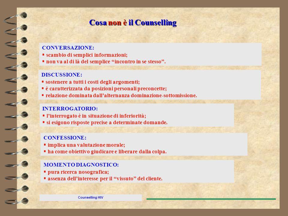 Counselling HIV Cosa non è il Counselling CONVERSAZIONE: scambio di semplici informazioni; non va al di là del semplice incontro in se stesso. DISCUSS