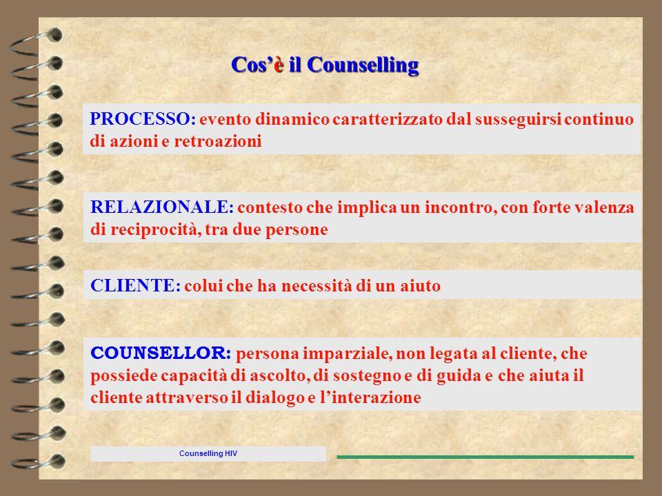 Counselling HIV PROCESSO: evento dinamico caratterizzato dal susseguirsi continuo di azioni e retroazioni RELAZIONALE: contesto che implica un incontr