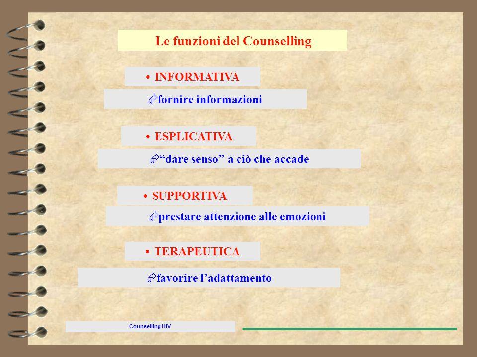 Counselling HIV Le funzioni del Counselling INFORMATIVA fornire informazioni ESPLICATIVA dare senso a ciò che accade prestare attenzione alle emozioni