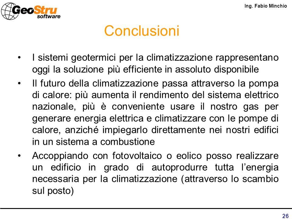 Ing. Fabio Minchio 25 Risparmio economico Il risparmio di energia primaria si traduce in termini economici in un risparmio del 30-35%. Purtroppo, in p