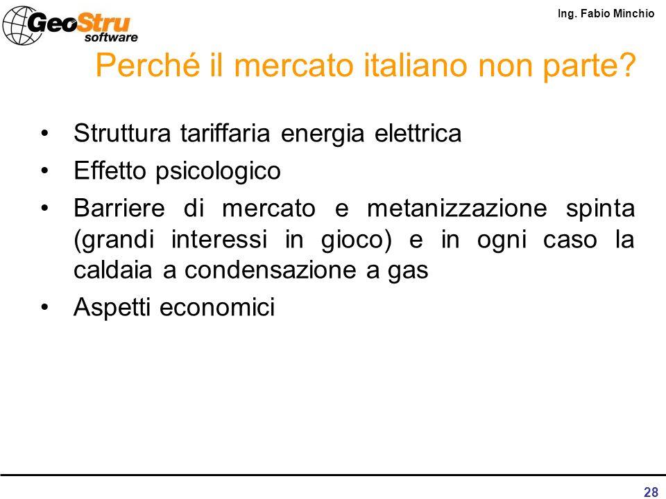 Ing. Fabio Minchio 27 Perché il mercato italiano non parte? Struttura tariffaria energia elettrica Effetto psicologico Barriere di mercato e metanizza