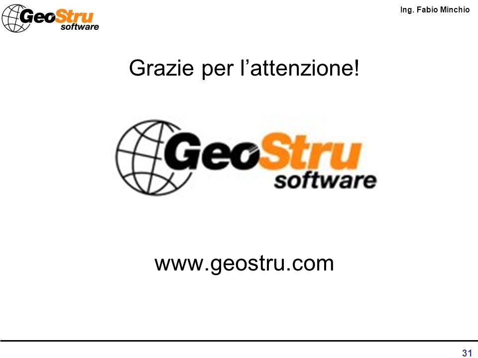 Ing. Fabio Minchio 30 Software geotermia GEOSTRU Geoborehole3D
