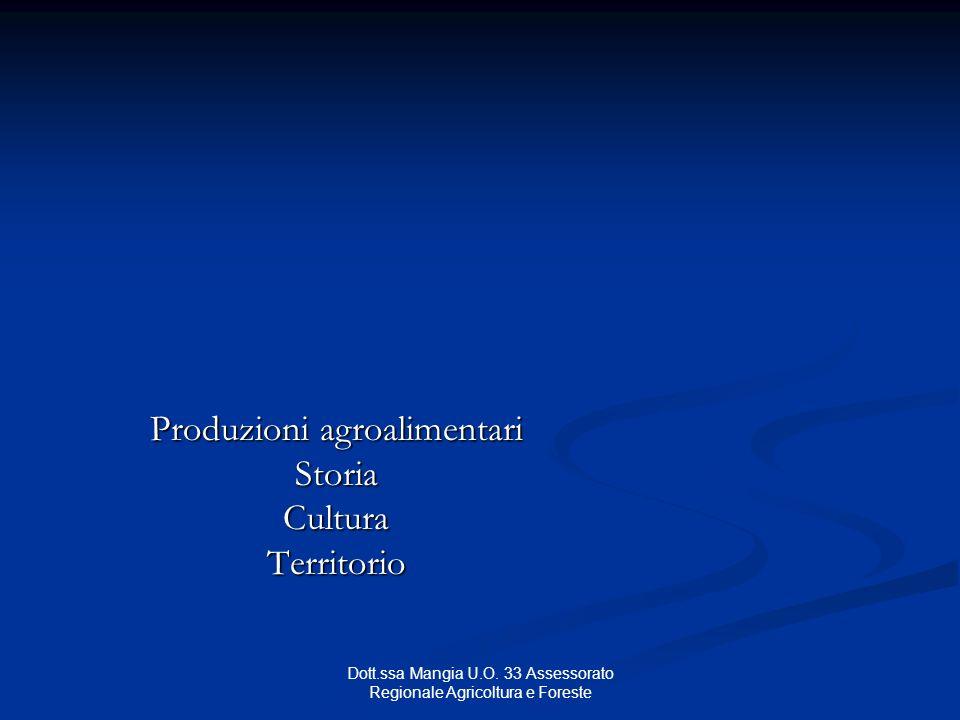 Dott.ssa Mangia U.O. 33 Assessorato Regionale Agricoltura e Foreste Produzioni agroalimentari StoriaCulturaTerritorio