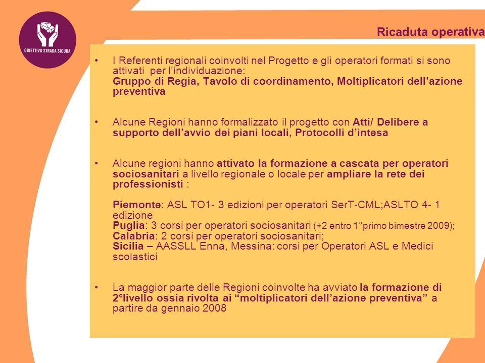 Ricaduta operativa I Referenti regionali coinvolti nel Progetto e gli operatori formati si sono attivati per lindividuazione: Gruppo di Regia, Tavolo