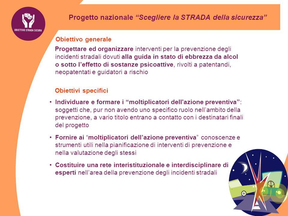 Progetto nazionale Scegliere la STRADA della sicurezza Obiettivo generale Progettare ed organizzare interventi per la prevenzione degli incidenti stra