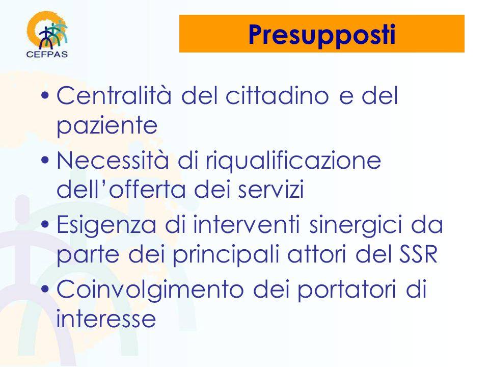 Presupposti Centralità del cittadino e del paziente Necessità di riqualificazione dellofferta dei servizi Esigenza di interventi sinergici da parte dei principali attori del SSR Coinvolgimento dei portatori di interesse
