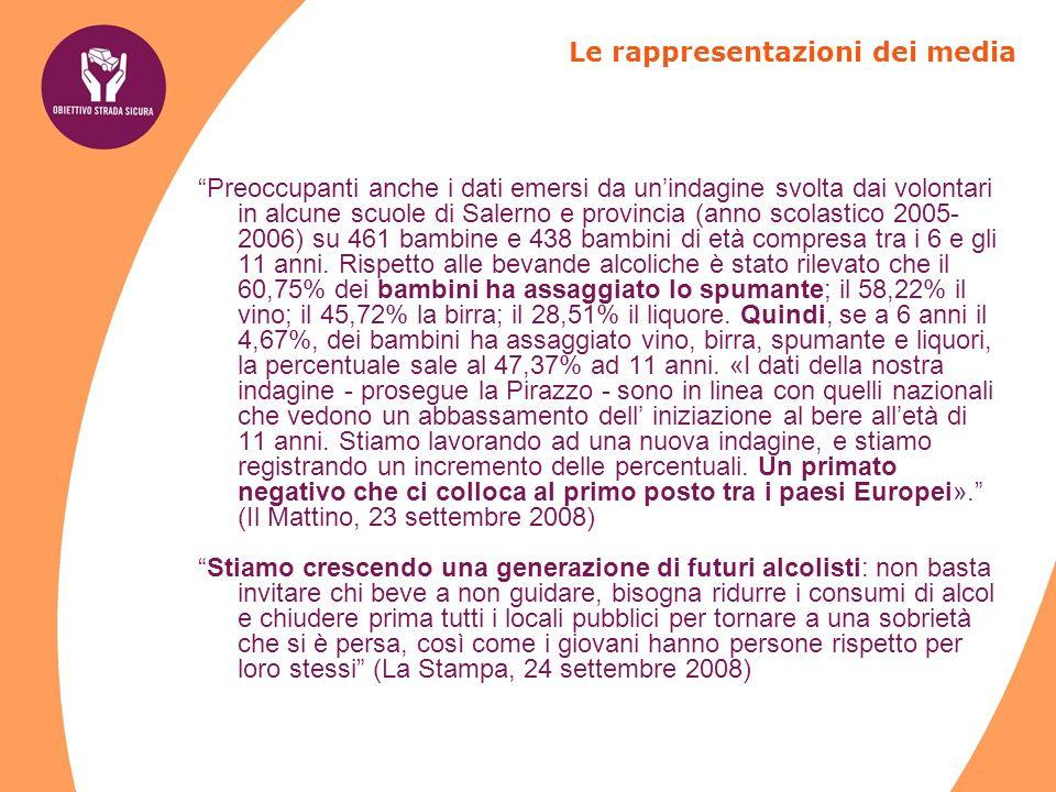 Preoccupanti anche i dati emersi da unindagine svolta dai volontari in alcune scuole di Salerno e provincia (anno scolastico 2005- 2006) su 461 bambine e 438 bambini di età compresa tra i 6 e gli 11 anni.